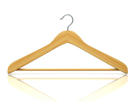 closet rod: Wooden clothes hangers, 3D render isolated on white background. Front view Stock Photo