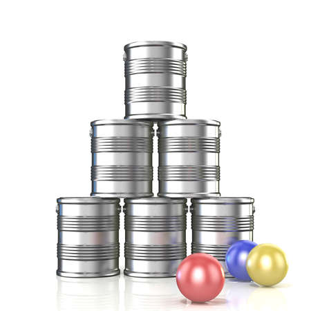 Tin cans and three balls. 3D illustration isolated on white background Stock Photo