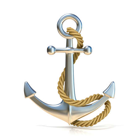 Steel anchor with rope isolated on a white background. 3D render illustration.