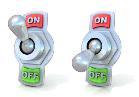 On and off metal toggle switches. 3D render illustration isolated on white background. Reklamní fotografie