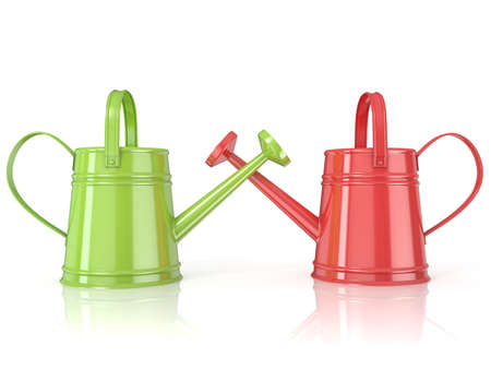renders: Two green and red 3D renders watering can isolated white background. Side view.