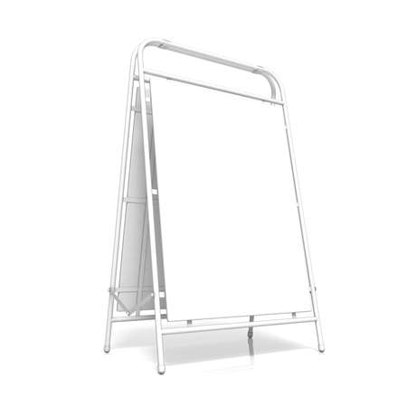 folding screens: White advertising stand, with copy space board. Side view. 3D illustration isolated on white background