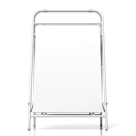 portative: Metal advertising stand, with copy space board. Front view. 3D illustration isolated on white background Stock Photo