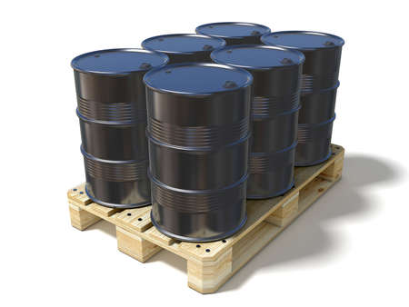 gasoil: Black oil barrels on wooden euro pallet. 3D illustration isolated on a white background