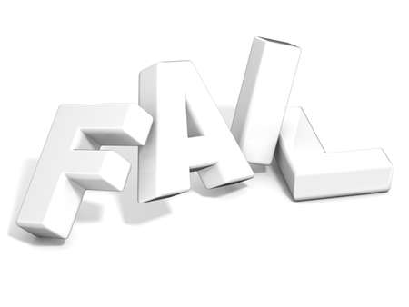 unaccepted: Fail concept. White letters isolated over white background. 3D render illustration