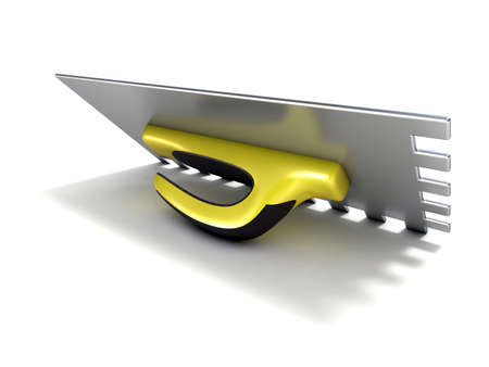 jaune noir: Finishing trowel with yellow black rubber handle. 3D render isolated on white background Banque d'images