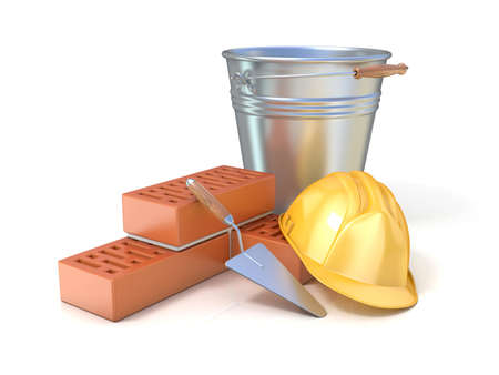 bricklaying: Fragment of red brick wall, trowel, metal bucket and safety helmet, isolated on white background. Concept of construction industry