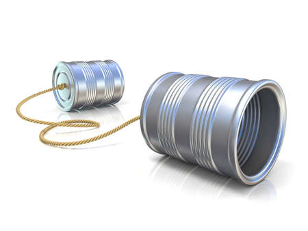 Communication concept: tin can children telephone with rope. 3D render illustration isolated on white background Foto de archivo