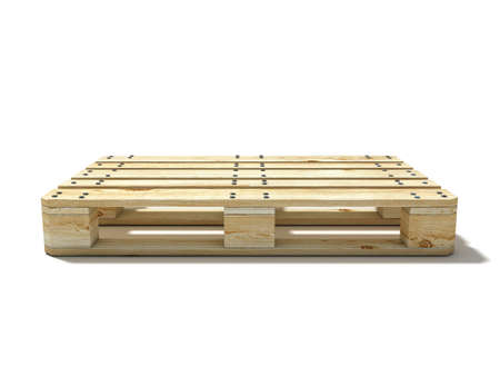 Euro pallet. Side view. 3D render illustration isolated on white background