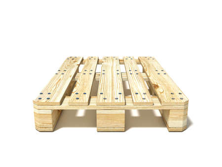 euro pallet: Euro pallet. Front view. 3D render illustration isolated on white background