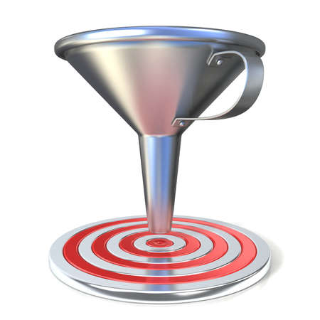 Empty steel funnel and red target. Isolated on white background. Concept of conversion rate, conversion funnel or flow control concept.