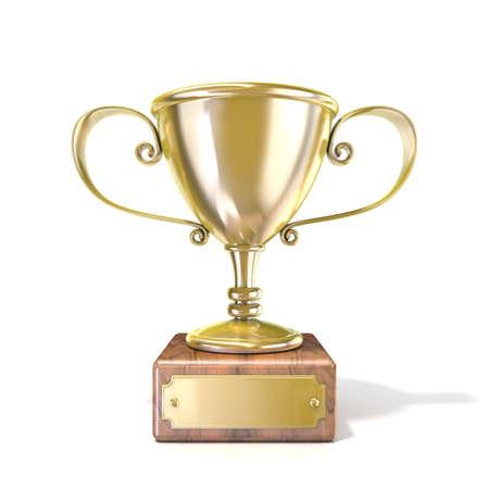 trofeo: Trofeo de la Copa de Oro. 3D rinden la ilustración aislada en el fondo blanco Foto de archivo