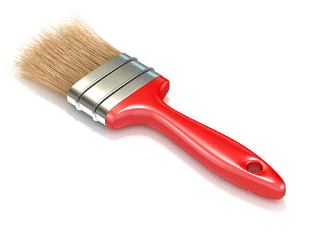 refit: Red paintbrush, back view. 3D render illustration isolated on white background Stock Photo