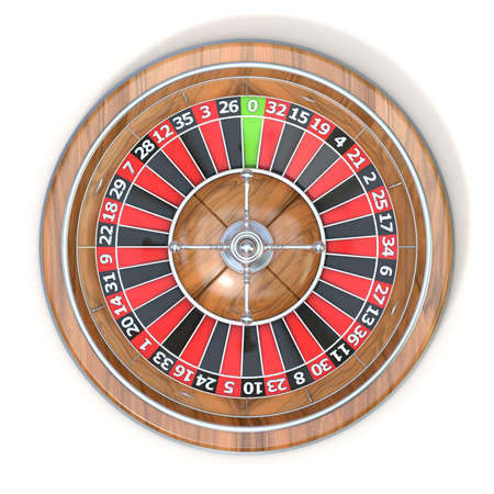 roulette wheel: Roulette wheel. Top view. 3D render illustration isolated on white background