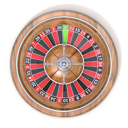ruleta de casino: Rueda de la ruleta. Vista superior. 3D rinden la ilustraci�n aislada en el fondo blanco