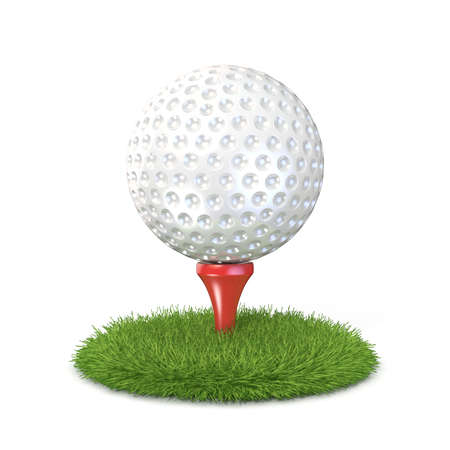 3d ball: Golf ball on red tee in grass. 3D render illustration, isolated on white background