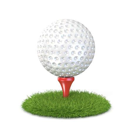 Golfbal op rode tee in het gras. 3D illustratie, geïsoleerd op een witte achtergrond maken