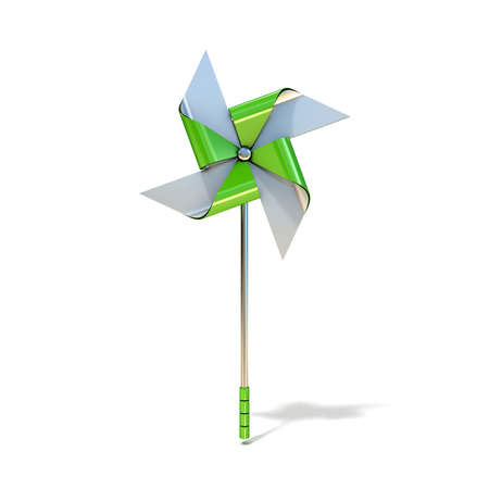 pinwheel toy: Pinwheel toy, four sided. 3D render illustration isolated on white background