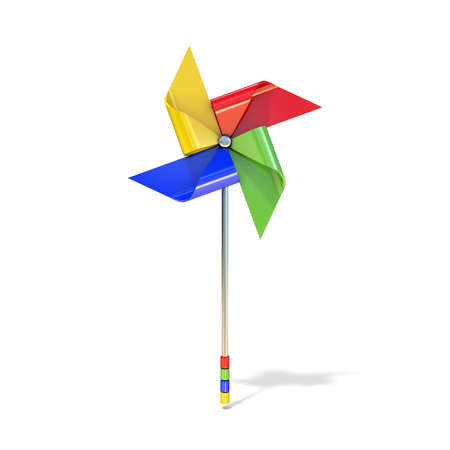vane: Pinwheel toy, four sided, differently colored vanes. 3D render illustration isolated on white background