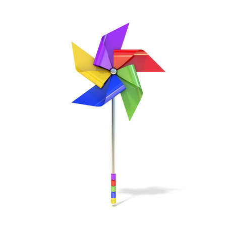 wind wheel: Pinwheel toy, five sided, differently colored vanes. 3D render illustration isolated on white background