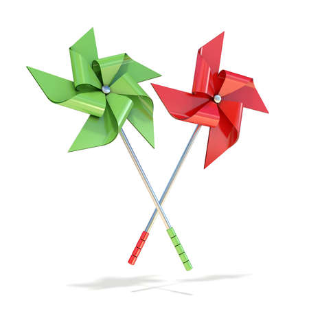 pinwheels: Red and green pinwheels. 3D render illustration isolated on white background