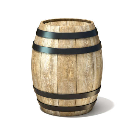 pail tank: Wooden wine barrel. 3D render illustration isolated over white background