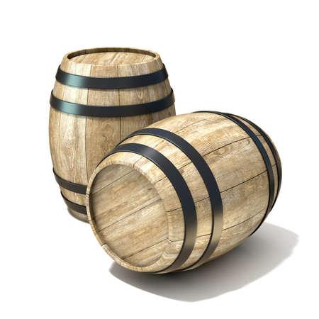 Houten wijnvaten. 3D render illustratie geïsoleerd op een witte achtergrond Stockfoto