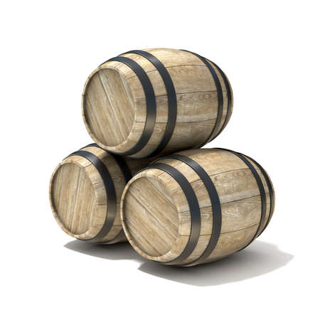 pail tank: Group of wooden wine barrels. 3D render illustration isolated over white background