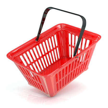 angled: Red shopping basket, side view. 3D rendered illustration. Unusual angled view. Concept of buying