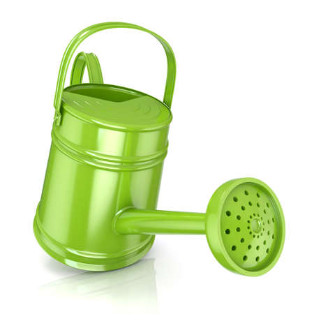 sprinkling: Green watering can 3D render isolated white background. Front view with sprinkler. Stock Photo