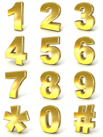 0 9: Numerical digits collection, 0 - 9, plus hash tag and asterisk. 3D golden signs isolated on white background. Render illustration.