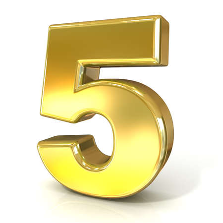 numerical: Numerical digits collection, 5 - FIVE. 3D golden sign isolated on white background. Render illustration.