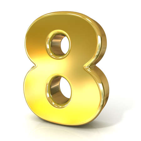 numerical: Numerical digits collection, 8 - EIGHT. 3D golden sign isolated on white background. Render illustration.