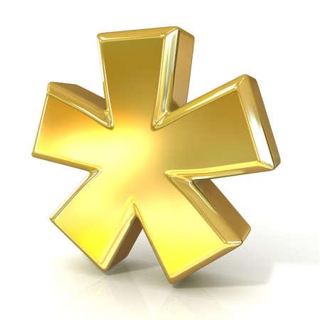 asterisk: Asterisk mark, 3d golden sign isolated on white background