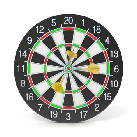 Dartboard with three orange darts on bullseye. Front view. 3D render illustration isolated on white background