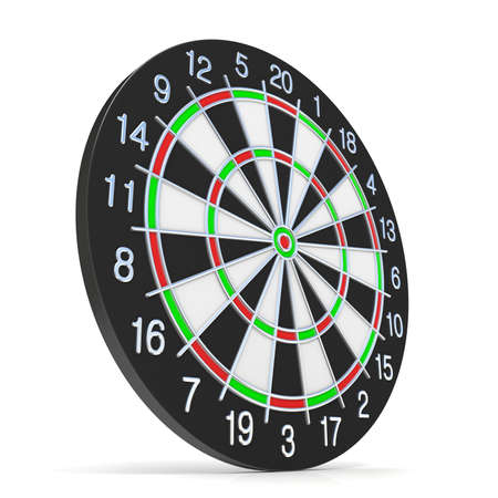 Dartboard. Side view. 3D render illustration isolated on white background Imagens