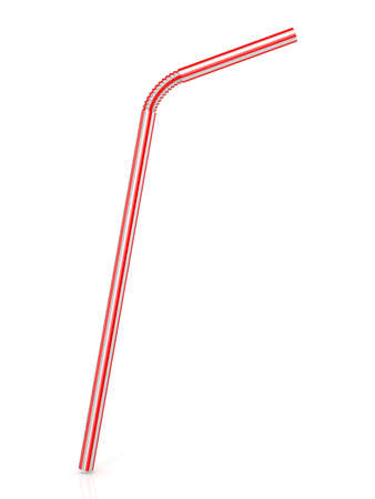 Drinking straw isolated on a white background. 3D render illustration.