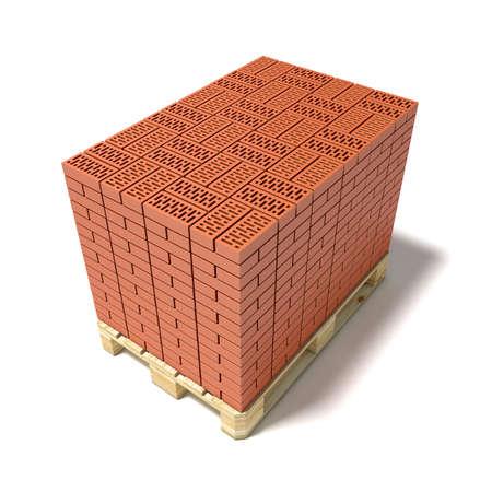 euro pallet: Euro pallet full of ceramic bricks. 3D render illustration isolated on white background.