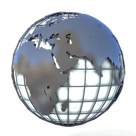 mondial: Polygonal style illustration of earth globe, Europe and Africa view