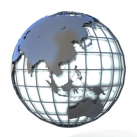 mondial: Polygonal style illustration of earth globe, Asia and Oceania view