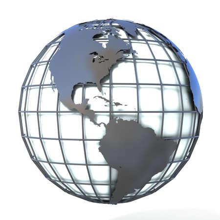 mondial: Polygonal style illustration of earth globe, America view