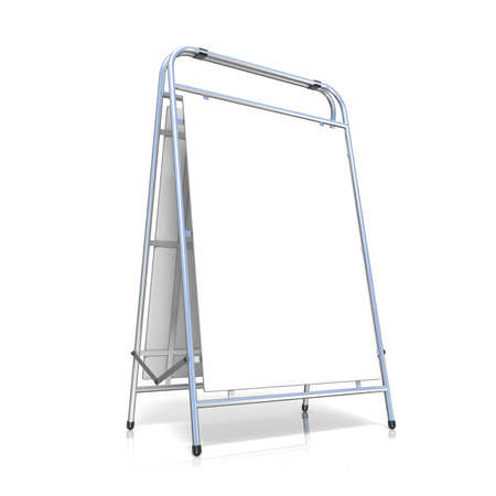 portative: Metal advertising stand, with copy space board. Side view. 3D illustration isolated on white background