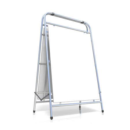 show bill: Metal soporte publicitario, con tabla de espacio de la copia. Vista lateral. Ilustraci�n 3D aislada en el fondo blanco Foto de archivo