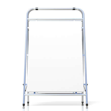 folding screens: Metal advertising stand, with copy space board. Front view. 3D illustration isolated on white background Stock Photo