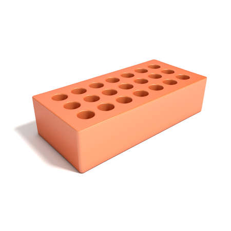 sand lime bricks: Red brick with round holes. 3D render illustration isolated on a white background.