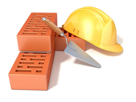 angled view: Safety helmet with rectangular perforated bricks and trowel. 3D render illustration, Isolated white background. Side, angled view. Stock Photo