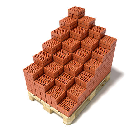 euro pallet: Euro pallet and cascade arranged ceramic bricks. 3D render illustration isolated on white background Stock Photo