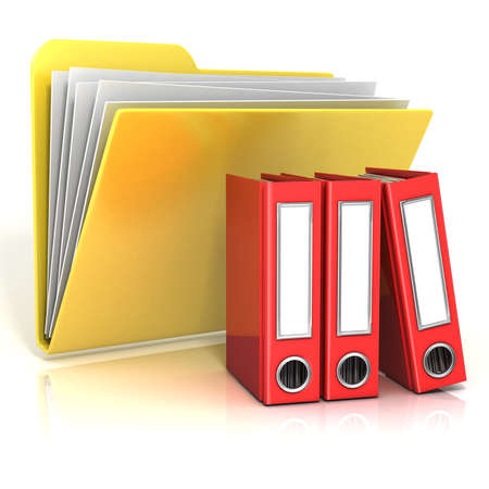 folder icon: Folder icon with red ring binders. 3D render illustration, isolated on white background