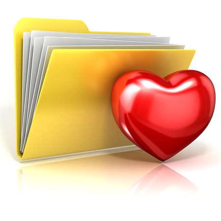 Favorites, heart folder icon. 3D render illustration, isolated on white background Stock Photo