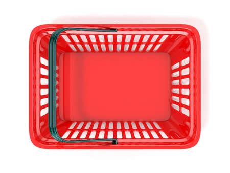 canestro basket: Cestino di acquisto rosso, vista dall'alto. illustrazione di rendering 3D Archivio Fotografico